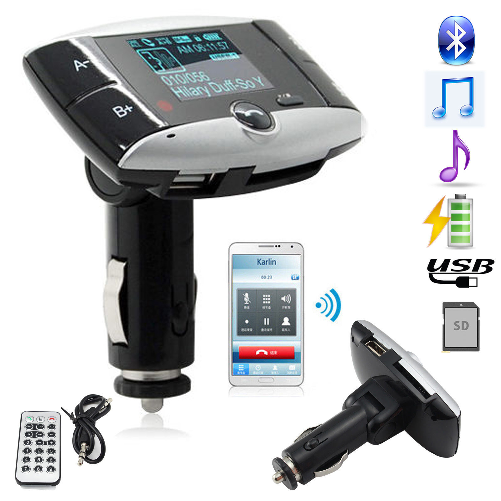 "1.5"" LCD Car Kit MP3 Bluetooth Player BT FM Transmitter FM Modulator SD MMC USB Remote"